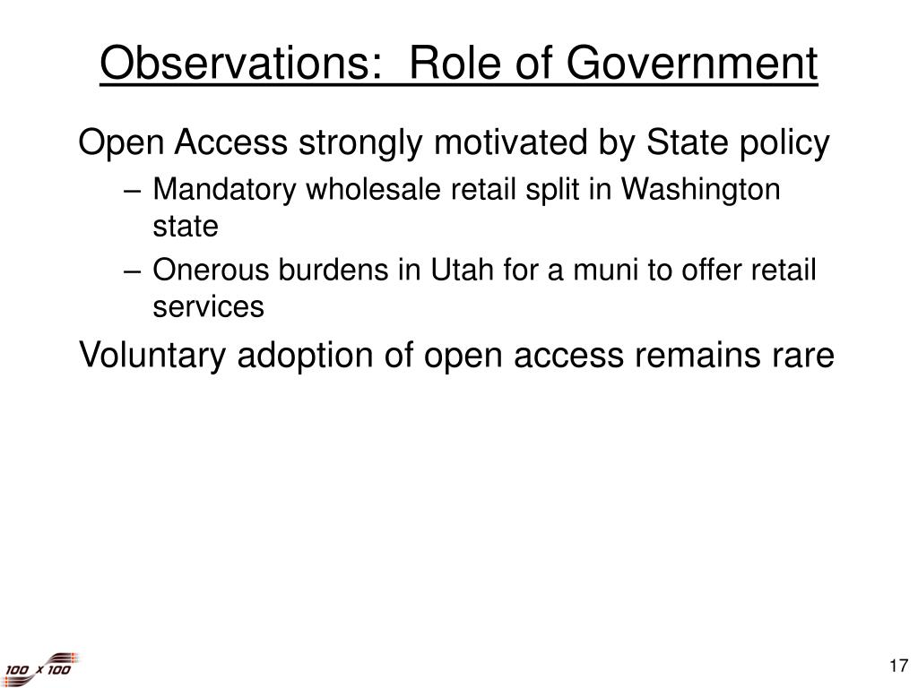 Observations:  Role of Government