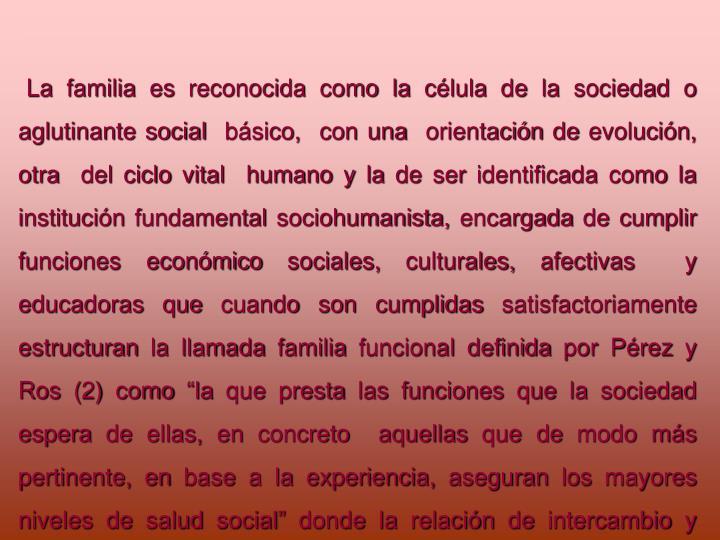 La familia es reconocida como la clula de la sociedad o aglutinante social  bsico,  con una  orientacin de evolucin, otra  del ciclo vital  humano y la de ser identificada como la institucin fundamental