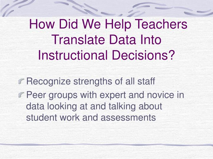 How Did We Help Teachers Translate Data Into Instructional Decisions?
