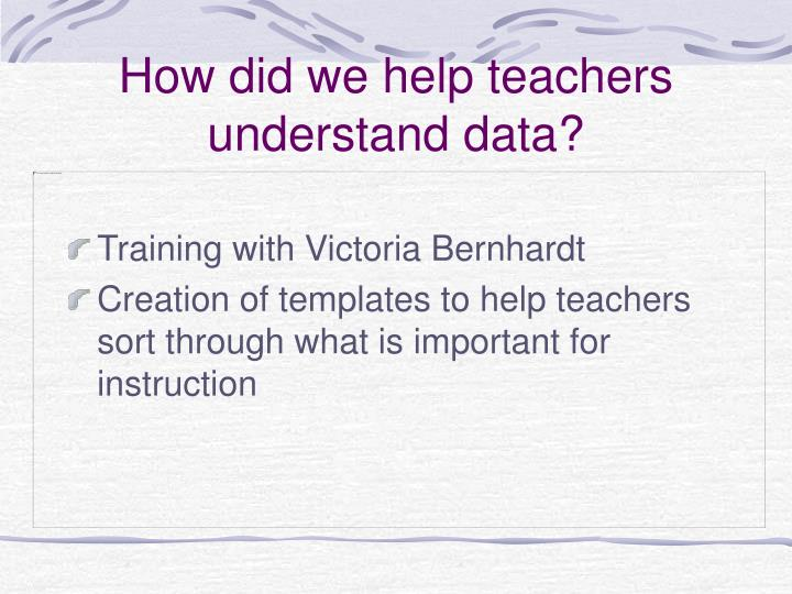 How did we help teachers understand data?