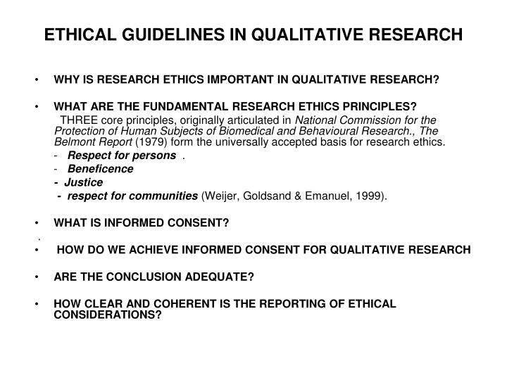 ETHICAL GUIDELINES IN QUALITATIVE RESEARCH