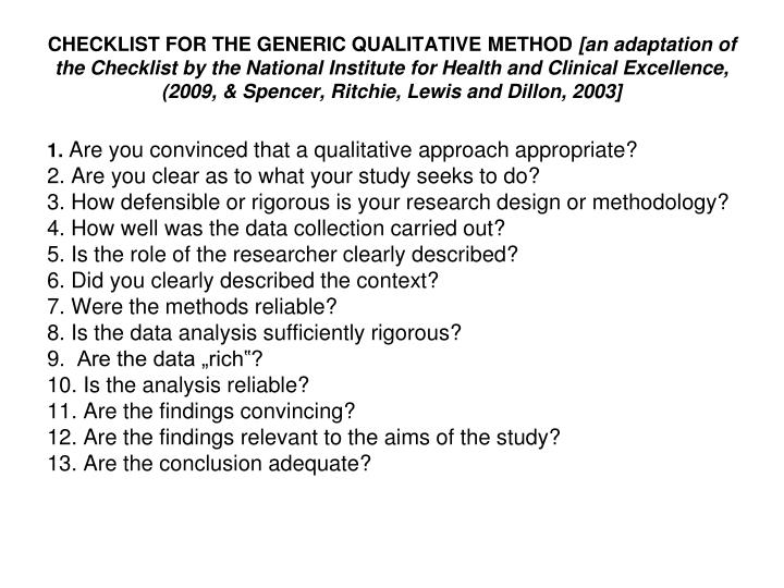 CHECKLIST FOR THE GENERIC QUALITATIVE METHOD