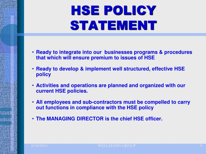 HSE POLICY STATEMENT