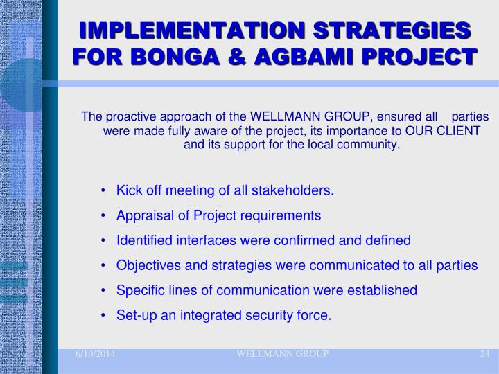 IMPLEMENTATION STRATEGIES FOR BONGA & AGBAMI PROJECT