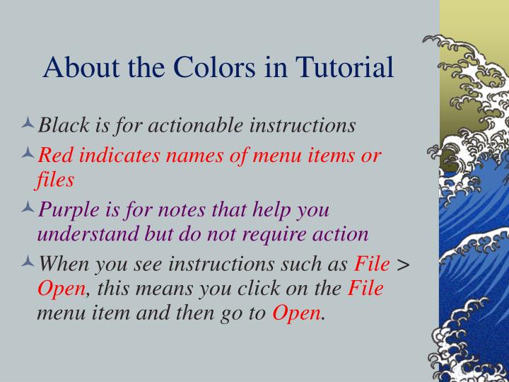 About the colors in tutorial