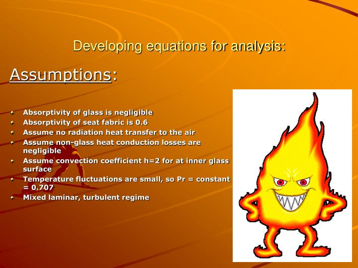 Developing equations for analysis: