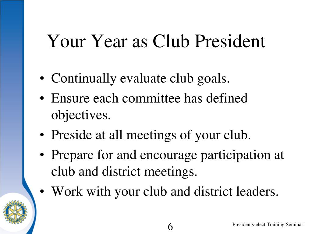 Your Year as Club President