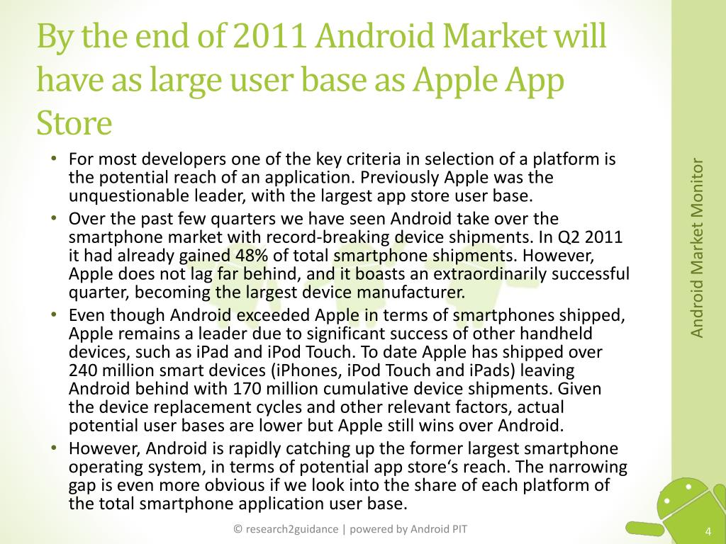By the end of 2011 Android Market will have as large user base as Apple App Store