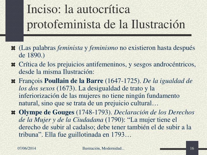 Inciso: la autocrtica protofeminista de la Ilustracin