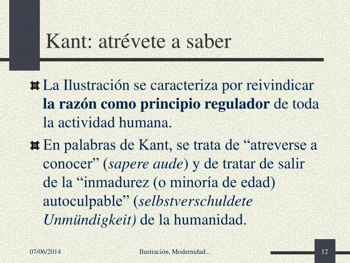 Kant: atrévete a saber