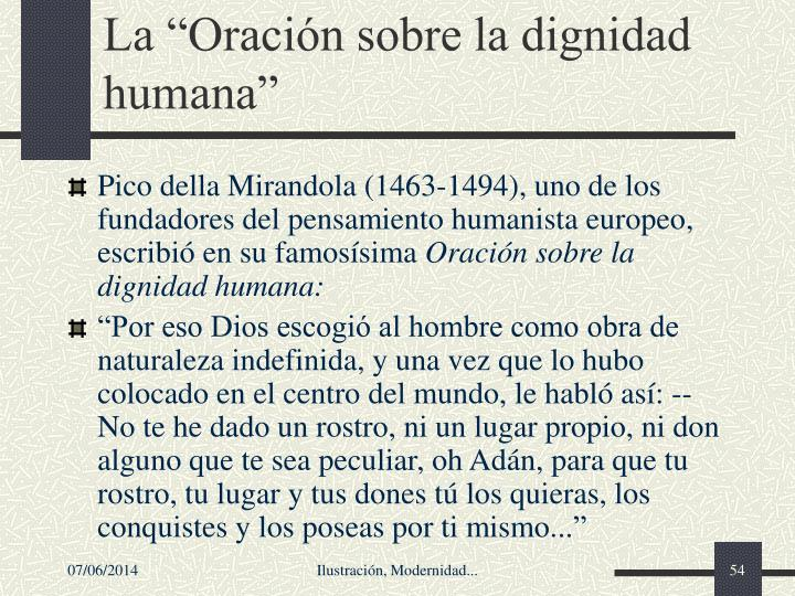 La Oracin sobre la dignidad humana