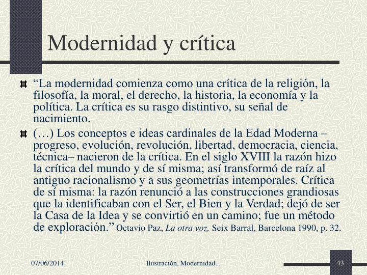Modernidad y crítica