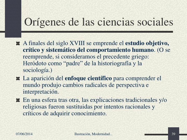 Orgenes de las ciencias sociales
