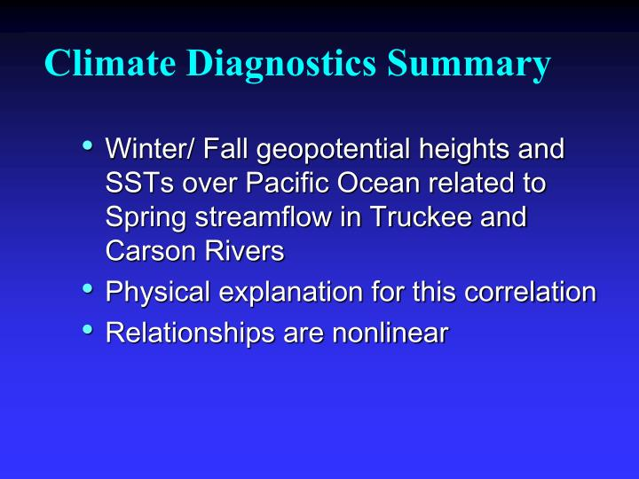 Climate Diagnostics Summary