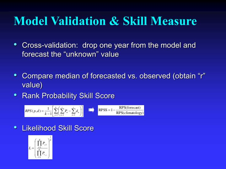 Model Validation & Skill Measure