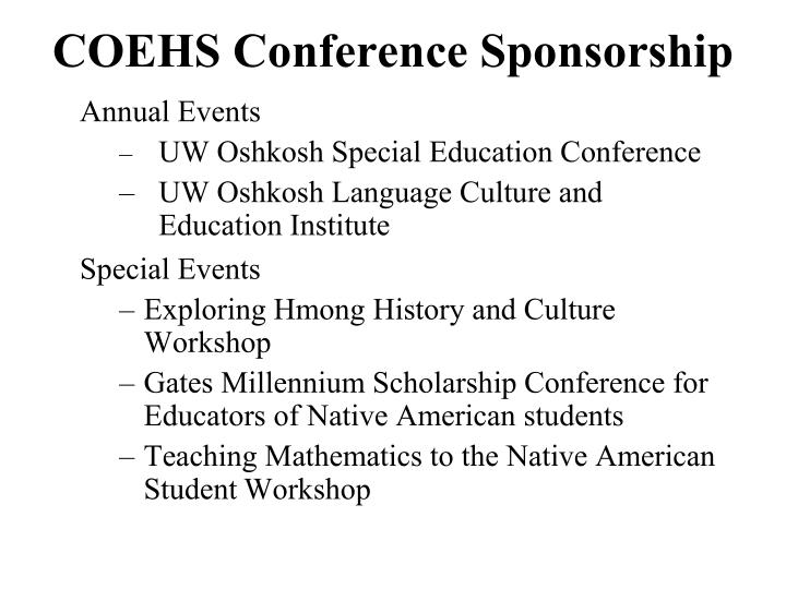 COEHS Conference Sponsorship