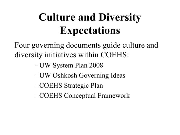 Culture and Diversity Expectations