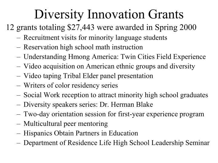 Diversity Innovation Grants