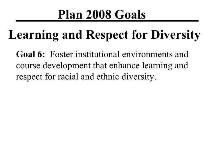 Plan 2008 Goals