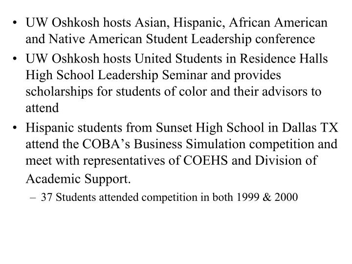 UW Oshkosh hosts Asian, Hispanic, African American and Native American Student Leadership conference