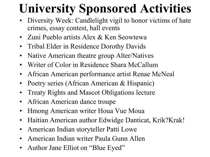University Sponsored Activities