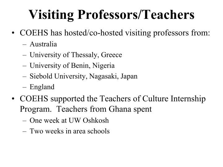 Visiting Professors/Teachers