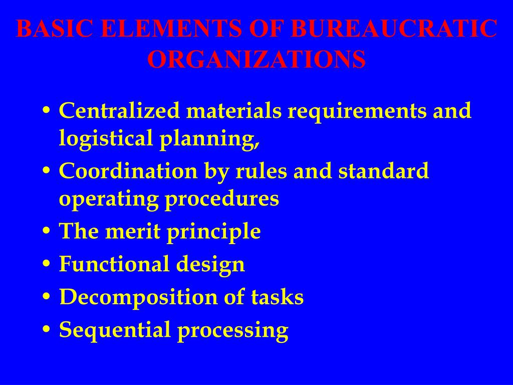 BASIC ELEMENTS OF BUREAUCRATIC ORGANIZATIONS