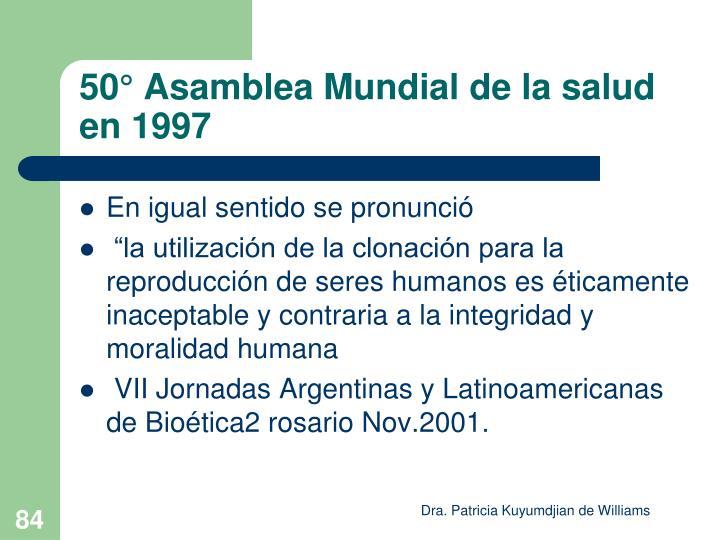 50° Asamblea Mundial de la salud en 1997