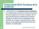anteproyecto 2012 comienzo de la existencia