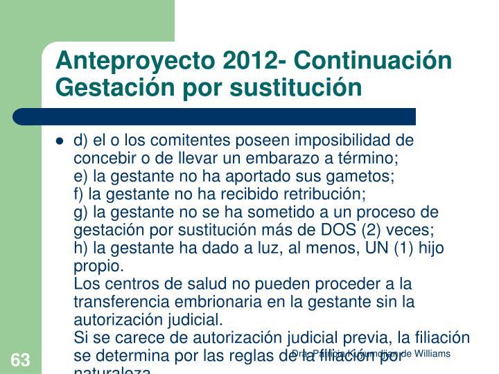 Anteproyecto 2012- Continuación