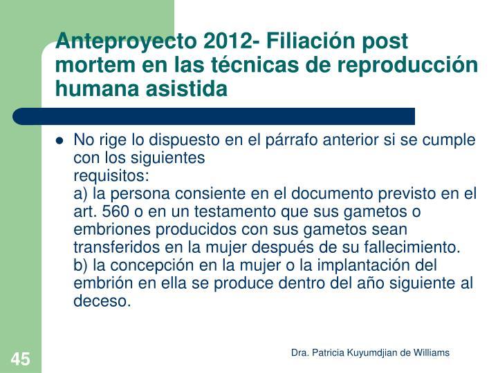 Anteproyecto 2012- Filiación post mortem en las técnicas de reproducción