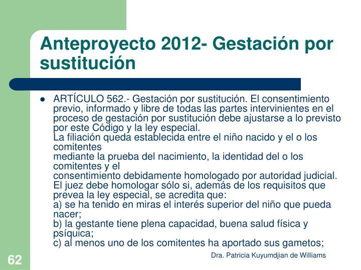 Anteproyecto 2012- Gestación por sustitución