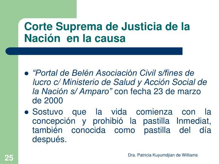 Corte Suprema de Justicia de la Nación  en la causa
