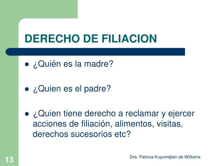DERECHO DE FILIACION