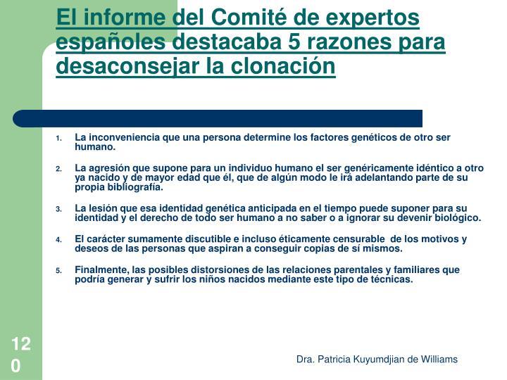 El informe del Comité de expertos españoles destacaba 5 razones para desaconsejar la clonación
