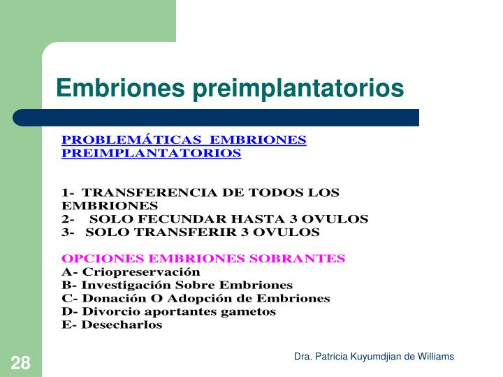 Embriones preimplantatorios