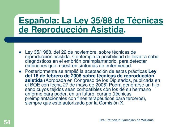 Española: La Ley 35/88 de Técnicas de Reproducción Asistida