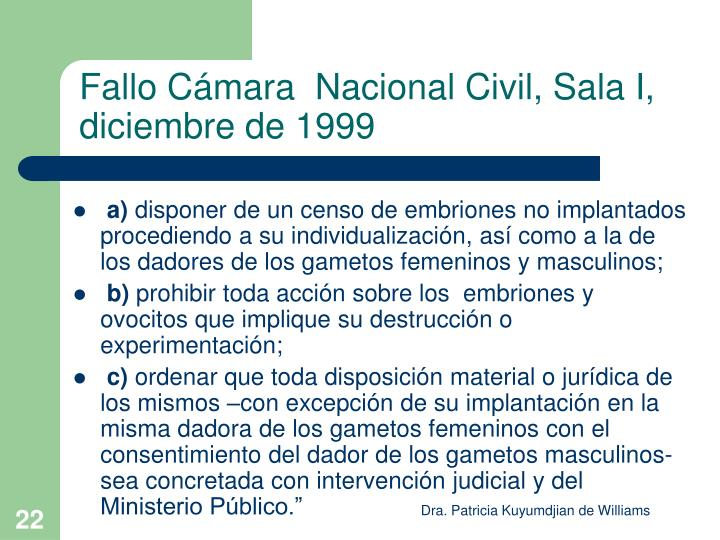 Fallo Cámara  Nacional Civil, Sala I, diciembre de 1999