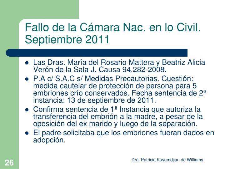 Fallo de la Cámara Nac. en lo Civil. Septiembre 2011