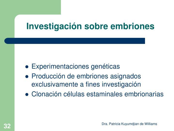 Investigación sobre embriones