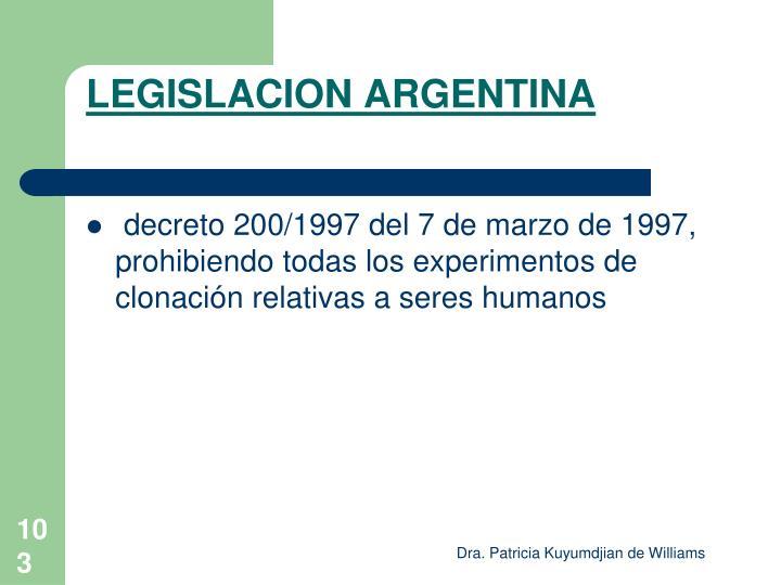 LEGISLACION ARGENTINA