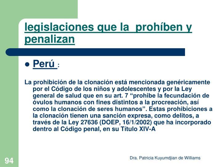 legislaciones que la  prohíben y penalizan