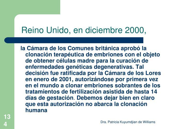 Reino Unido, en diciembre 2000,