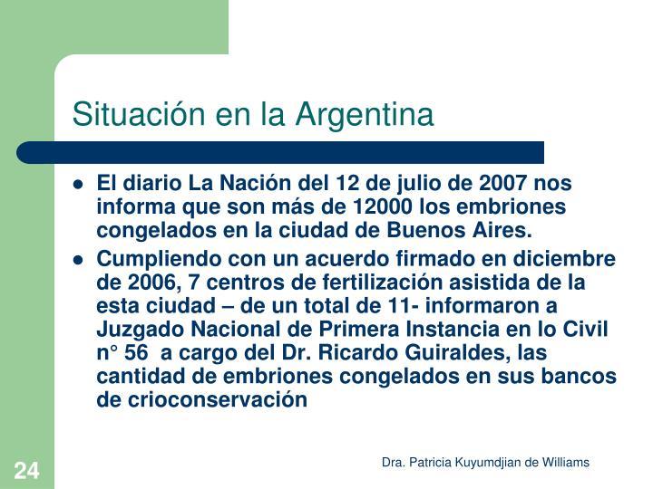 Situación en la Argentina