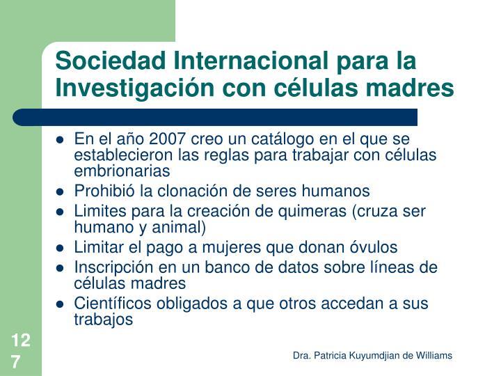 Sociedad Internacional para la Investigación con células madres