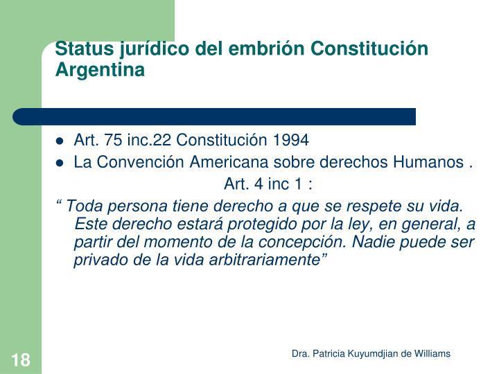 Status jurídico del embrión Constitución Argentina