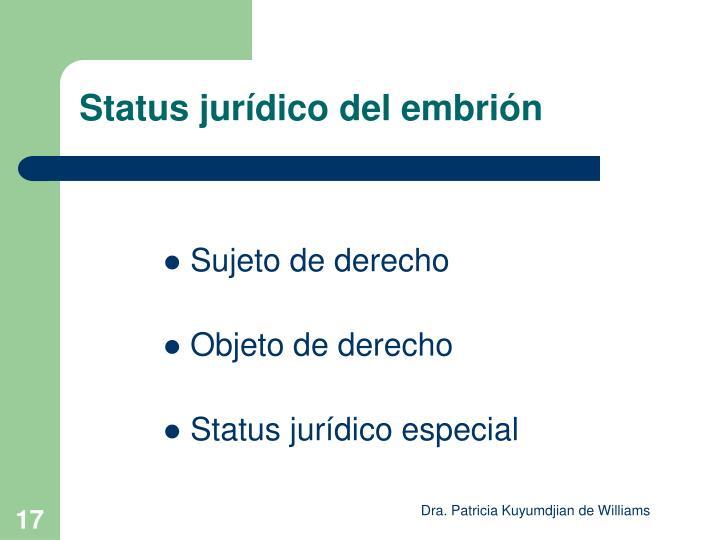 Status jurídico del embrión