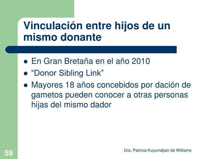 Vinculación entre hijos de un mismo donante
