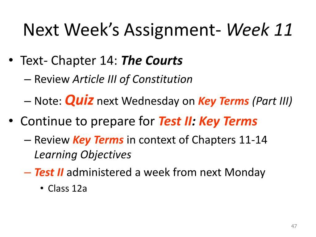 Next Week's Assignment-