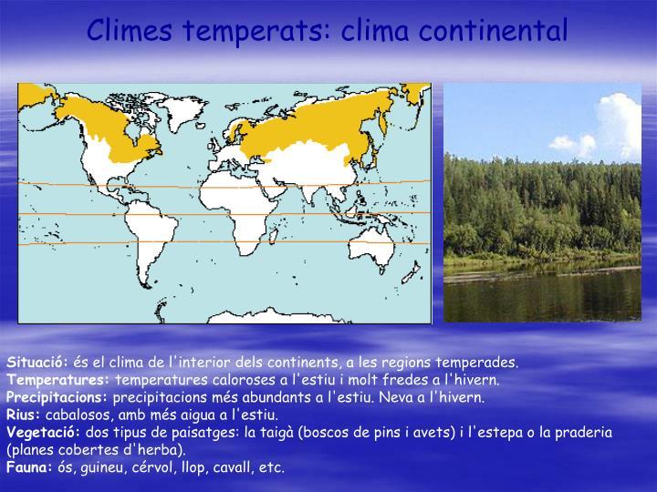 Climes temperats: clima continental